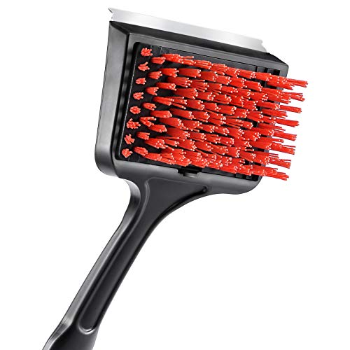Unicook Outdoor Grill Brush, Heavy Duty Nylon BBQ Cleaning Brush, Removable Head XL Gas Grill Cleaner, Durable and Effective, Best Alternative to Dangerous Wire Brush, Do Not Use on Hot/Warm Grill