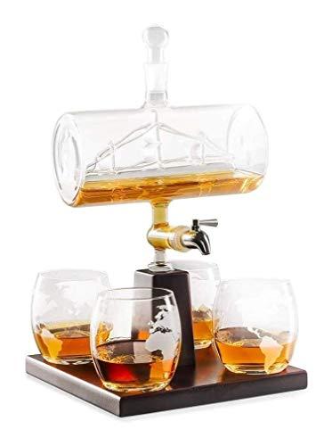 GAOTTINGSD Botellero Whisky la Jarra con 4 vidrios y Madera de Roble de Soporte, único sin Plomo del dispensador de licores for Scotch,