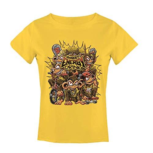 Camiseta Manga Corta Hombre Mujer T Shirt con Estampado Frontal 3 Tintas - Cuello Redondo Diseño Agresivo Divertido Skate Skateboard Casual Deporte Street (Yellow Woman, M)
