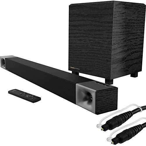 Klipsch 1068774 Cinema 400 400W 2.1-Channel Dolby Digital Soundbar System Bundle with Monoprice 6ft Optical Toslink 5.0mm OD Audio Cable