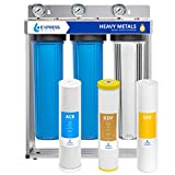 """Product Image of the Express Water Heavy Metal Whole House Water Filter – 3 Stage Whole House Water Filtration System – Sediment, KDF, Carbon Filters – Includes Pressure Gauges, Easy Release, and 1"""" Inch Connections"""