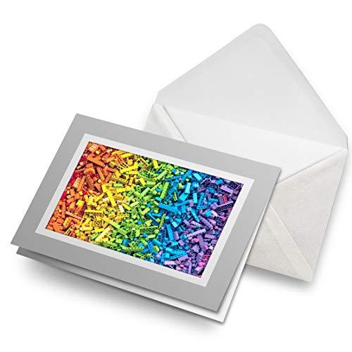 Impresionante tarjetas de felicitación gris (inserto) – Colección de ladrillos de color arcoíris en blanco, tarjeta de felicitación de cumpleaños para niños y niñas #14331