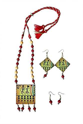 Aarav Art's Traditional Handcrafted Necklace and Two Ear Ring Set Jewellery for Women and Girls (Color-Multicolor, Size: Free)