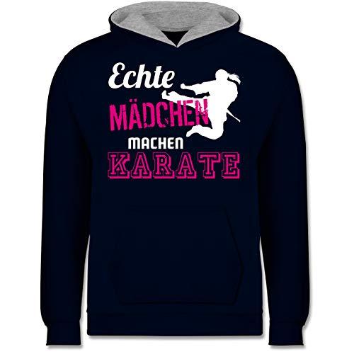 Sport Kind - Echte Mädchen Machen Karate - 104 (3/4 Jahre) - Navy Blau/Grau meliert - Karate Pulli - JH003K - Kinder Kontrast Hoodie