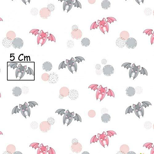 Pingianer 11,99€/m 100x160cm Fledermaus Rot Grau 100% Baumwolle Baumwollstoff Kinder Meterware Handwerken Nähen Stoff