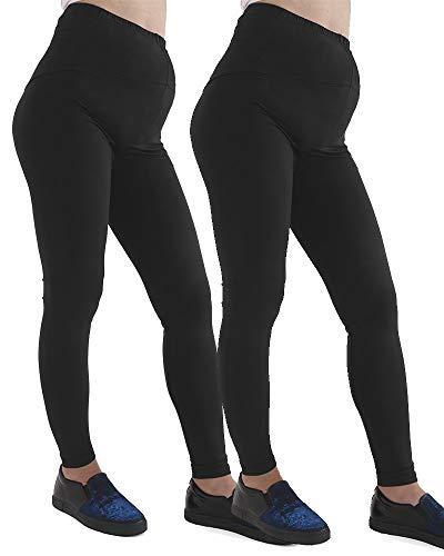 GW CLASSYOUTFIT® 2X Womens Ladies Maternity Leggings Full Ankle Length Stretchy Over Bump Pregnancy Pants (L/XL 16-18, BLACK)