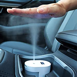 Small Touchless Alcohol Sanitizer Mister w/USB-C Rechargeable - Fits Car Cupholder, Disinfect Hands/Phone/Keys, Soft Nano Mist Spray, No Residue, Automatic Dispenser, 100 mL Tank from Echomerx