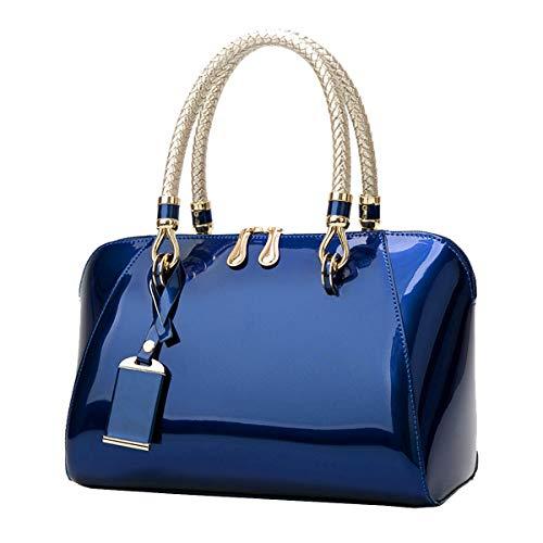 Tisdaini Bolsos de mano Mujer Bolsos bandolera Moda charol fiesta Bolsos totes Shoppers y bolsos de hombro ES905 Azul oscuro