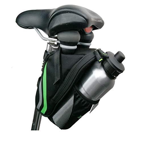 WANVOGEL zadeltassen zitzakken fietstas met flessenhouder reflecterend zwart groen