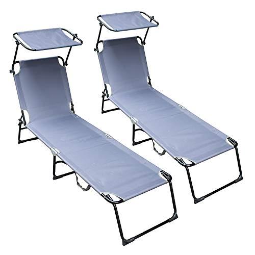 vingo Set de 2 Tumbona Ajustable Cama Hamaca Relax en Exterior Piscina Terraza Camping Jardin Playa 189x55x27cm Gris