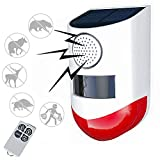 Upgraded Smart Solar Strobe Light with Remote Controller, RISOON Solar Alarm Light Motion Detector 120db Sound Security Siren IP65 Waterproof, Protected Your Home,Farm,Barn,Villa,Yard (White)