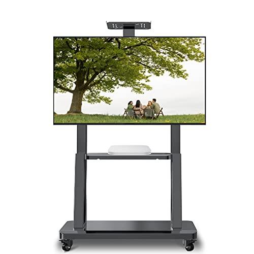 Supporto TV da pavimento Carrello TV Carrito de TV móvil para televisores LED LCD de 32/42/45/50/55/60/65/70/ 75 Pulgadas, Soporte de TV Negro portátil para el hogar/Sala de Estar/Oficina, Altura