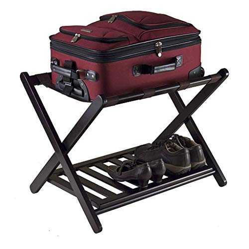 Read About Hopeg Luggage Rack with Shelf, Folding Bamboo Suitcase Luggage Stand, Double Tiers Luggag...