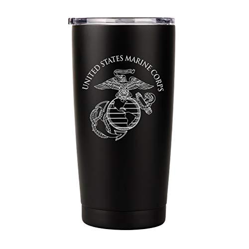 20 oz USMC Black Double Wall Vacuum Insulated Stainless Steel USMC Tumbler Travel Mug