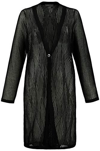 Ulla Popken Damen große Größen Cardigan, Ajour-Strick, Wellendesign, Langarm, Selection schwarz 58/60 747590 10-58+