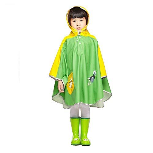 Guyuan Mode Enfants de Bande dessinée Enfants Transparent Grand Chapeau Avant-toits Hommes et Femmes bébé Coupe-Vent Manteau Poncho imperméable (Color : Green, Size : M)