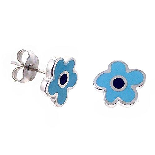 Pendientes plata Agatha Ruiz de la Prada 9.5mm. flor azul [AB7160]