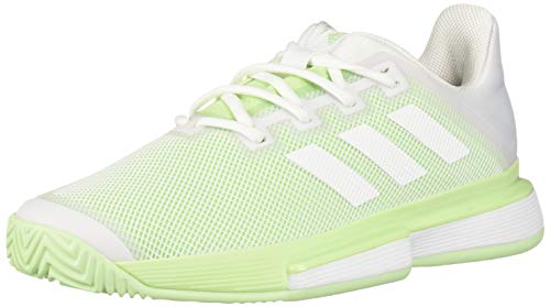 adidas Women's SoleMatch Bounce Tennis Shoe, White/White/Glow Green, 11 M US