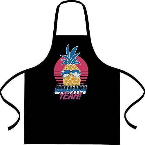 Cool Pineapple Ohhh Yeah zomer motief kookschort, barbecueschort, schort Eén maat zwart