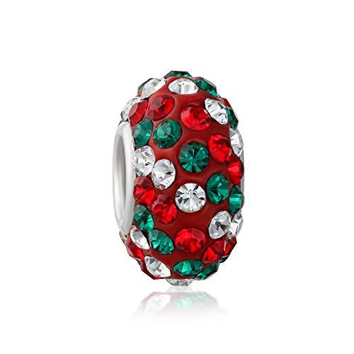 Bling Jewelry Vacaciones De Navidad Rojo Verde Blanco Candy Cane Rayas Abalorio...