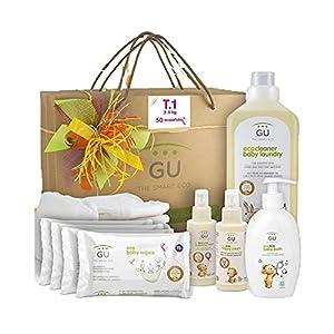 Canastilla para Bebé Recién Nacido - Incluye 50 Ecopañales - 4 Packs de Toallitas Húmedas - Gel de Baño - Crema Hidratante y Crema de Pañal - Detergente para Ropa - Cesta para Bebé Recién Nacido