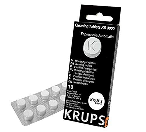 Krups XS300010 Pastillas limpiadoras para máquinas de café súper automáticas, pack de 10 pastillas, Elimina depósitos y los residuos grasos del café ✅