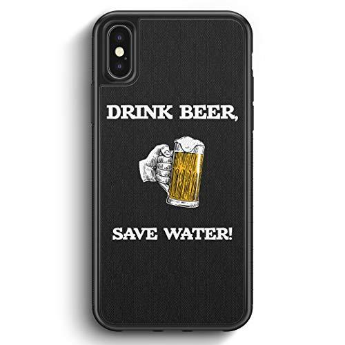 Drink Beer, Save Water - Silikon Hülle für iPhone X - Motiv Design Spruch Lustig Cool Witzig Jungs Männer Bier - Cover Handyhülle Schutzhülle Hülle Schale
