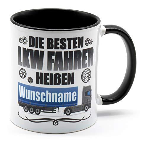 Golebros LKW Fahrer heißen Wunschname Kaffee Tasse Spruch Name Becher Geburtstag Geschenke Berufskraftfahrer Trucker Fernfahrer personaliesiert Deko Zubehör