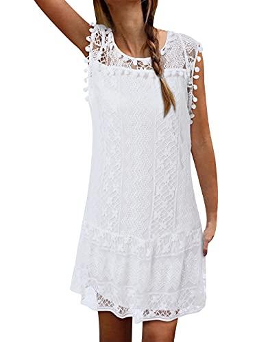 ZANZEA Vestito Bianco Donna Vestitini Sexy Mini Abito Pizzo Vestiti Corta Abiti da Cocktail Tunica Vestitino Donna Bianca 44