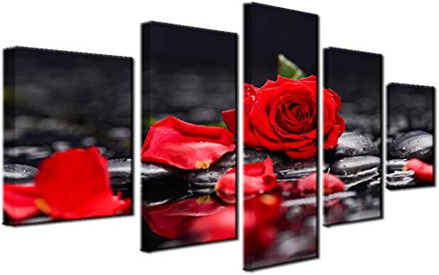Hierarchy Art Red pink 5 Panels Painting Wall Art Modern Giclee Prints Decor Floral Artwork on Black Canvas for Living Room