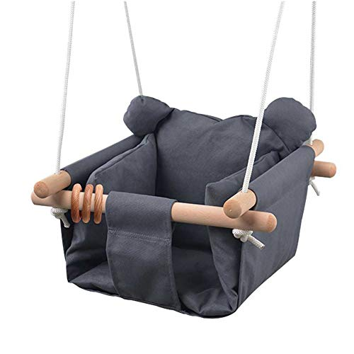 DILIMI Baby Canvas Hanging Swing Seat Toddler Secure Indoor & Outdoor Hammock Toy Grey
