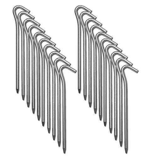 CampAir 20 Estacas Piquetas para Tienda de campaña de Perfil L, Ancla de Tierra, Extra Resistente (7071-aluminio), Grosor 6 mm