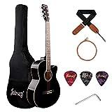 JUAREZ Arpeggio 39 Inch Acoustic Guitar Kit, Spruce Top, Rosewood Fretboard & Bridge, Truss Rod, Chrome Die Cast Machine Tuners, Black