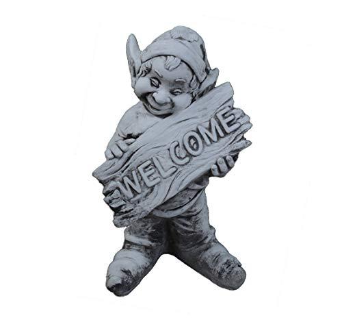 gartendekoparadies.de Figure de Pierre Massive GNOME Amusant Bienvenue Welcome Petit Troll Lutin en Pierre reconstituée, résistant au Gel