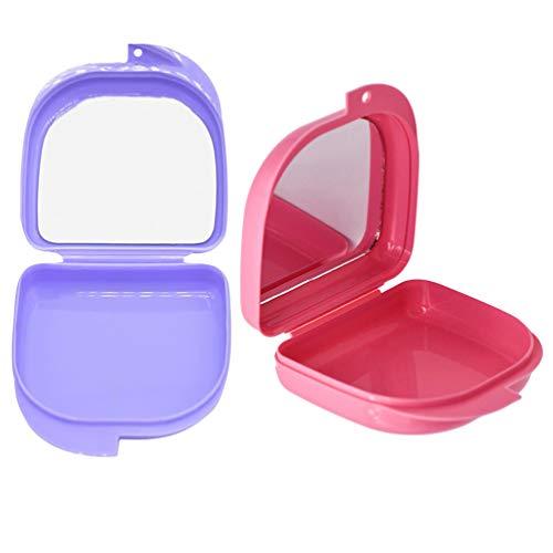 Hemoton 2 Stück Retainer Case Mundschutzhüllen Tragbare Kieferorthopädische Zahnzahn Retainer Box Prothesenetui mit Spiegel