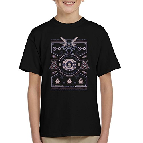 Cloud City 7 Christmas Digimon Tentomon Digivolve Knowledge 8 Bit Knit Pattern Kid's T-Shirt Black