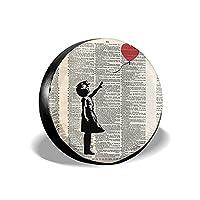 タイヤカバー バンクシー 【Girl With Balloon, Red Balloon Girl Print】 タイヤ収納 タイヤトート タイヤバッグ 背面スペアカバー タイヤ保管 軽自動車 迷彩柄 カモフラ柄 防水 防日焼け 防水生地 劣化対策 持ち運び便利 Suv カー用品 14/15/16/17インチ よけカバー ホイールカバー 屋外 屋内 防塵 タイヤ劣化防止 セダン