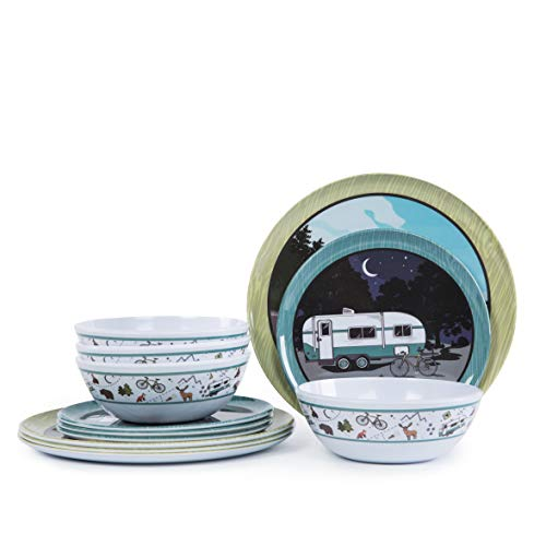 12pcs Melamine Dinnerware set for 4, Outdoor Indoor Use Dinner Dishes Set for Camper, Break-resistant, RV Use