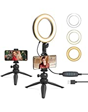 """UHURU 6"""" LED Ring Light with Tripod Stand & Phone Holder for Live Stream/Makeup,Portable Ring Light for YouTube Video Conference Vlogging Compatible with iPhone Android"""