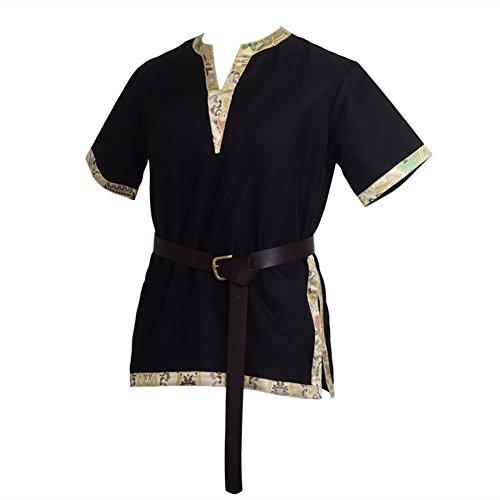 BLESSUME Medieval Vikingo Sayo con un cuero de PU Cinturón Disfraz (Negro, M)