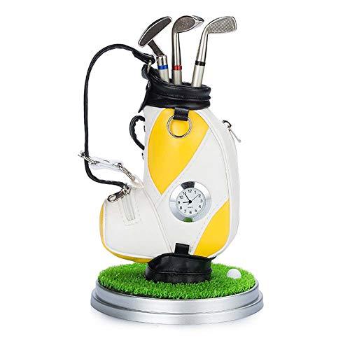 PiaoGolfGift Golf Cart Geschenk Set Golf Bag Golf Stiftehalter, Gadget Desktop Golftasche Geschenkset und 3 Kugelschreiber,Yellow