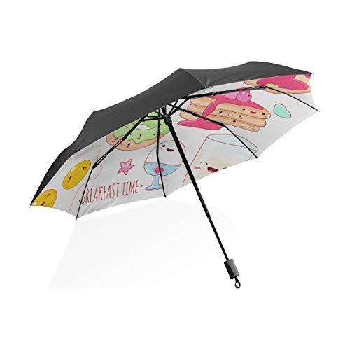 Kinder Jungen Regenschirm Set Lustige Milch Kaffee Tee Tasse Tragbare Kompakte Klappschirm Anti-UV-Schutz Winddicht Outdoor Travel Frauen Auto Regenschirm Kinder