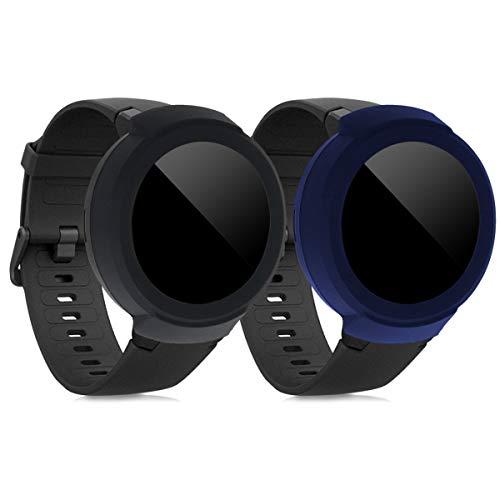kwmobile 2 Fundas Compatible con Huami Amazfit Verge -  Cubierta Monitor de Actividad de Silicona Negro/Azul Oscuro