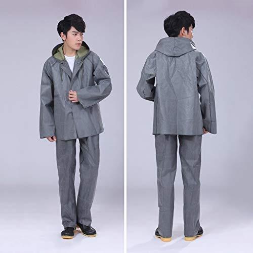 Regenjas Set Outdoor Hooded Split regenjas regenbroek Rubber Regenkleding Suit, Dikke Slijtvast Vissen Bouwplaats regenjas, One Size Unisex