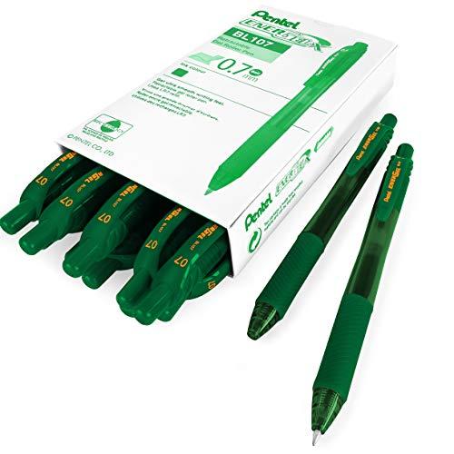 Pentel Energel X BL107 - Bolígrafos de punta rodante retráctil de gel (0,7 mm, tinta verde, 12 unidades)