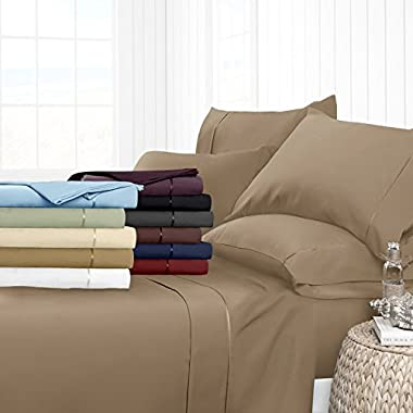 Egyptian Luxury Hotel Collection 4-Piece Bed Sheet Set - Deep Pockets, Wrinkle and Fade Resistant, Hypoallergenic Sheet and Pillow Case Set - King, Taupe