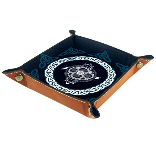 Celtic Cross Leather Square Dish Trinket Plate Jewelry Tray Mothers Day Birthday Gift