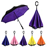 Rainz Inverted Umbrella, Reversible and Windproof, Water Repelent, Invert Folding, C-Shaped Handle