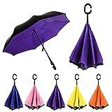 Rainz Inverted Umbrella, Reversible and Windproof, Water Repelent, Invert Folding, C-Shaped Handle