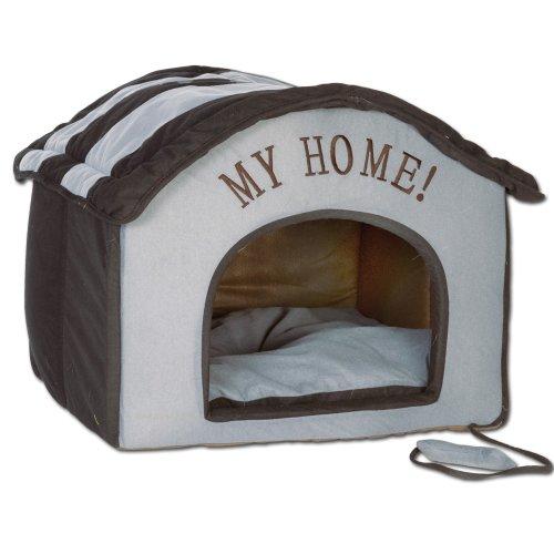 van der Watering Wohnungs Hundehütte schwarz/anthrazit Indoorhütte Die wunderschöne, plüschig-weiche Stoffhütte mit My Home- Stickerei ist EIN idealer Rückzugsort für kleine Hunde